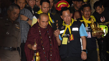 Monk Kruba Boonchum prayed with he families to the Princess spirit.