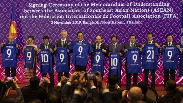 Ahead of the East Asian Summit, ASEAN leaders sign a deal with FIFA in Bangkok  in November.