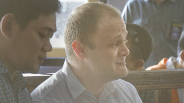 """Please help me"": Isaac Roberts weeps as he addresses a Bali court on Wednesday."