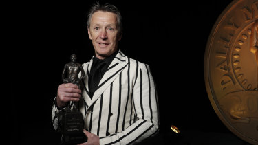 Craig Bellamy accepts the Dally M coach of the year award last October.