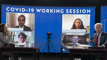 Democratic presidential candidate former Vice President Joe Biden and his running mate Senator Kamala Harris, talk to media before they receive a virtual briefing on COVID-19 from public health experts in Wilmington, Delaware.