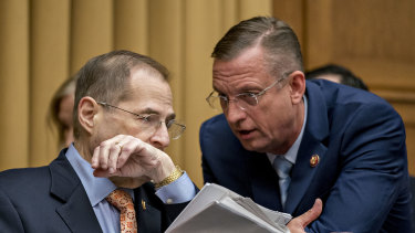 Representative Jerry Nadler, a Democrat from New York and chairman of the House Judiciary Committee, left, talks to ranking member Doug Collins, a Republican from Georgia.