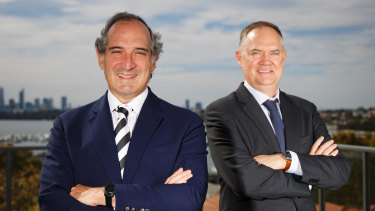 Orocobre CEO Martin Perez De Solay (left) and Galaxy CEO Simon Hay at Galaxy's office in Perth after finalising details of their $4 billion merger.