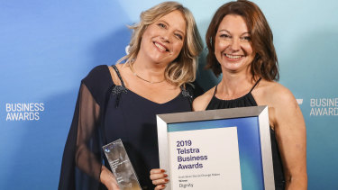 Suzanne Hopman (right), the co-founder of homelessness startup Dignity, with her finance chief Deanna Shim at the Telstra National Business Awards.