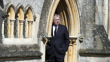 Prince Andrew emerges from the Royal Chapel of All Saints.