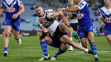 Tigers back-rower Luke Garner was sent for a spell in the win over Canterbury.