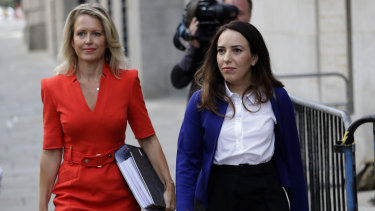 Assange's partner, Stella Moris, right, and his lawyer Jennifer Robinson, arrive at the Central Criminal Court, the Old Bailey on September 14.
