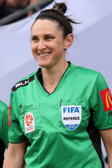 Kate Jacewicz made history as the first woman to referee an A-League match.