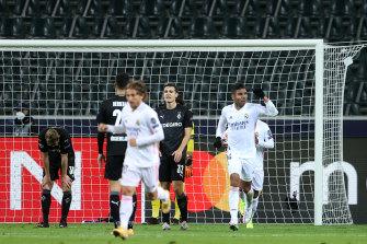 Casemiro celebrates Real Madrid's stoppage-time equaliser against Borussia Moenchengladbach.