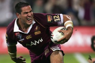 Carl Webb after scoring a try for the Maroons at Suncorp Stadium in 2006.