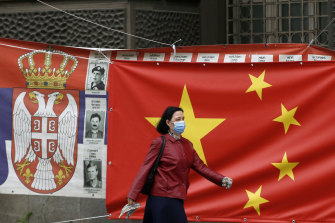 A Chinese banner on a Belgrade street, part of the country's attempt to recast its virus-battered image in Europe.