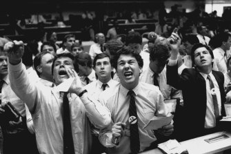 The scene at the Sydney Stock Exchange on October 20, 1987.