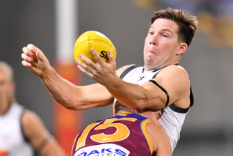 Toby Greene, tackled by Dayne Zorko, was one of the Giants best players.