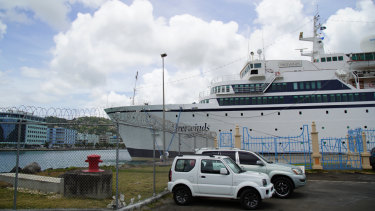 The Freewinds cruise ship is docked in the port of Castries.