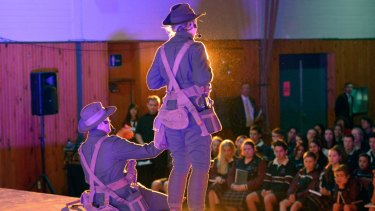 The launch of the ANZAC Centenary Roadshow at Patterson River Secondary College in July 2014.