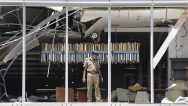 The aftermath of the attack on the Shangri-La hotel in Colombo on Sunday.