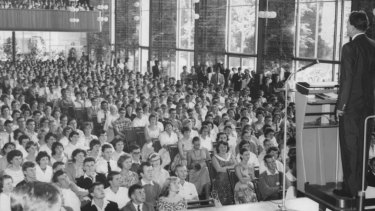 Billy Graham addresses students of the University of Melbourne at Wilson Hall in March 1959.