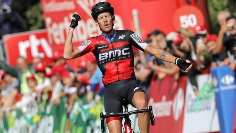 Italian rider Alessandro De Marchi celebrates his stage win.