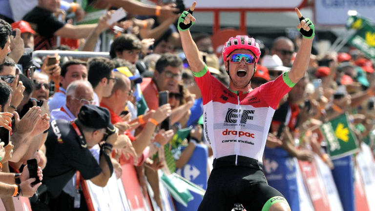 Australia's Simon Clarke (Education First-Drapac) celebrates his win in the fifth stage of the Vuelta.