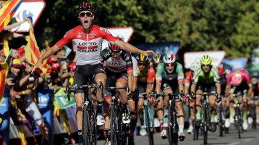 Belgium's Jelle Wallays celebrates his stage win in the Vuelta.