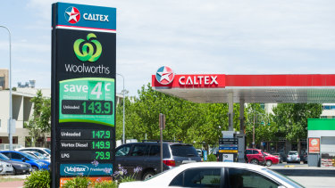 In Dickson, Caltex was charging 147.9 cents per litre for unleaded petrol on Friday; 8 cents per litre more than in Queanbeyan.