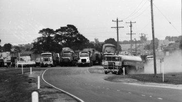 Trucks block the Hume Highway, near Kalkallo.