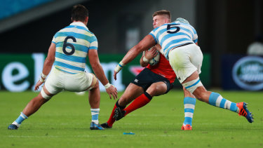 Tomas Lavanini of Argentina was sent off and banned for four weeks for this high shot on England's Owen Farrell.