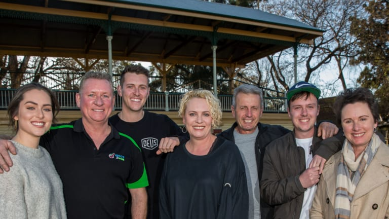From left: The Pearson Family, Shannon, Norman, Jake and Donna with the Martello  family, Marc, Nathan and Donna will run in the City2Surf.
