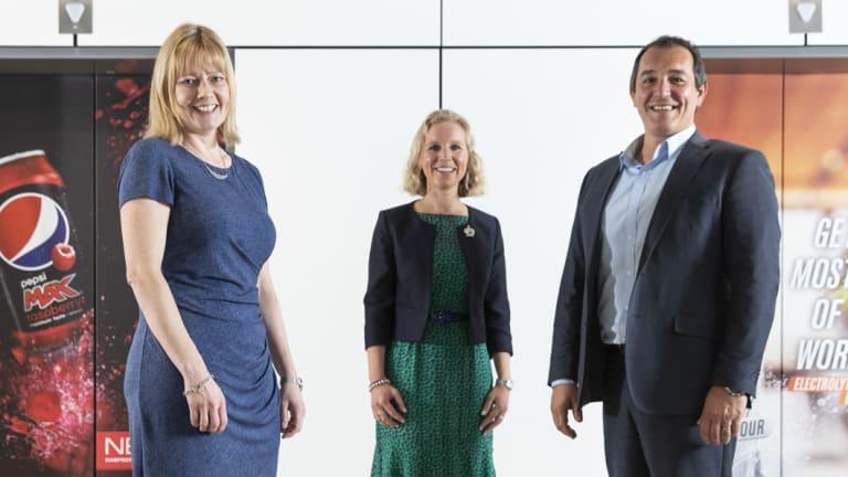 Pepsico Australia's sales director Louise Baker, commercial strategy director Dulcie de Koning, and CEO Danny Celoni.