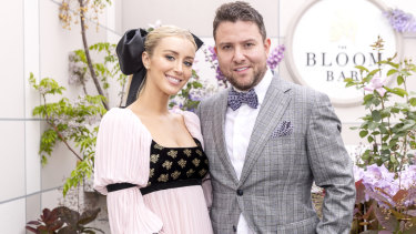 The couple are seen in Kennedy marquee ahead of the Melbourne Cup Carnival in 2018.