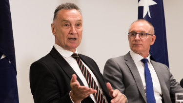 Craig Emerson and Jay Weatherill releasing the review on Thursday.