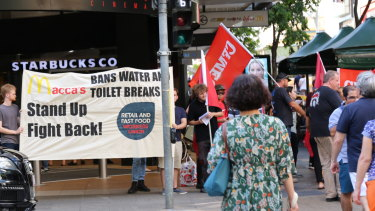 About 25 people attended the rally in Brisbane on Friday afternoon.