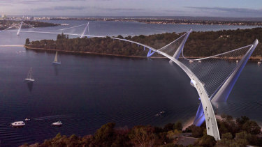 An artist's impression of the proposed Three Points Bridge in Perth.