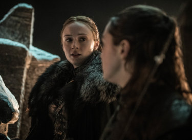Stick 'em with the pointy end: Arya has some sage advice for Sansa.