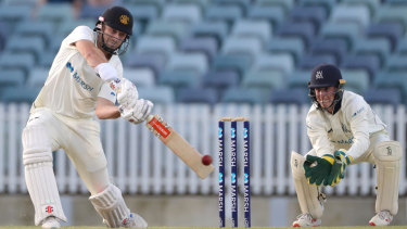 Shaun Marsh scored an unbeaten 101 for Western Australia on the second day of the Sheffield Shield clash with Victoria.