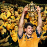 Glory days ... Former Wallabies captain John Eales raises The William Webb Ellis Trophy after the 1999 World Cup.