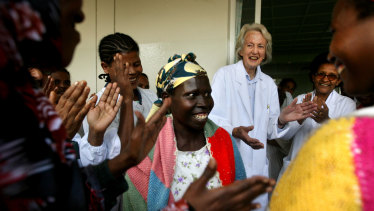 Dr Catherine Hamlin with staff and cured fistula patients on the eve of the women returning home.