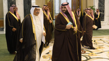 Prince Khaled bin Salman, right, the brother of Crown Prince Mohammed bin Salman and Saudi Ambassador to the United States, and Ibrahim al-Assaf, the new Saudi foreign minister, are pictured at the Royal Court in Riyadh on January 14.