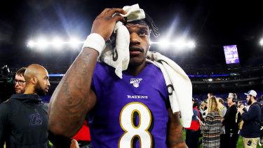 Not his night: Baltimore quarterback Lamar Jackson.