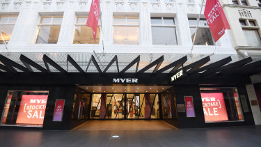 A closed Myer store in the deserted Bourke Street Mall on Saturday.