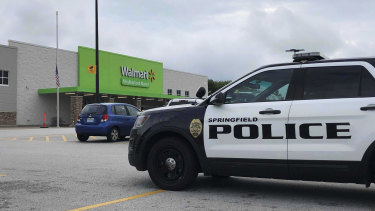 Springfield police respond to a Walmart in Springfield, Missouri.