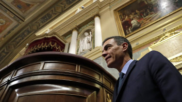 Spanish Prime Minister Pedro Sanchez arrives in Parliament in Madrid for the vote.