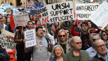 Refugee advocates took the streets in Sydney in national rallies to mark six years since the implementation of offshore detention on Manus and Nauru.