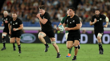 Counter-attack: Anton Lienert-Brown lines up Scott Barrett before putting the lock over for the All Blacks' second try in several minutes.