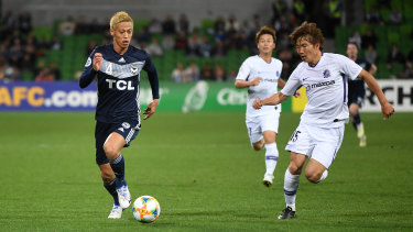 Star turn: Keisuke Honda in action during his last game for Melbourne Victory.