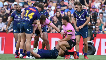 Nathan Cleary is free to play in the grand final after this tackle on Kenny Bromwich went slightly wrong.