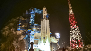 A test launch of a heavy-class carrier rocket Angara-A5 in the Arkhangelsk Region of northwestern Russia.