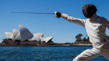 Australian Olympian Edward Fernon in Sydney on Wednesday, marking 100 days until the Tokyo Games.