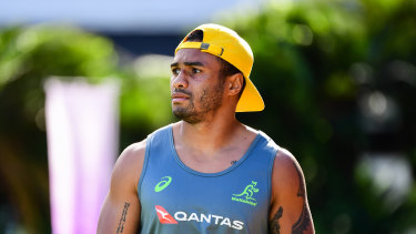Halfback Will Genia looks on at Wallabies training on Monday.