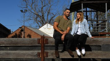 Greg Inglis and his partner Alyse Caccamo in Camden, NSW.